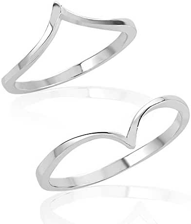 925 Sterling Silver Pointed Above Knuckle Midi & Thumb Ring Set of Two (2), Sizes 5, 8 or 4, 7